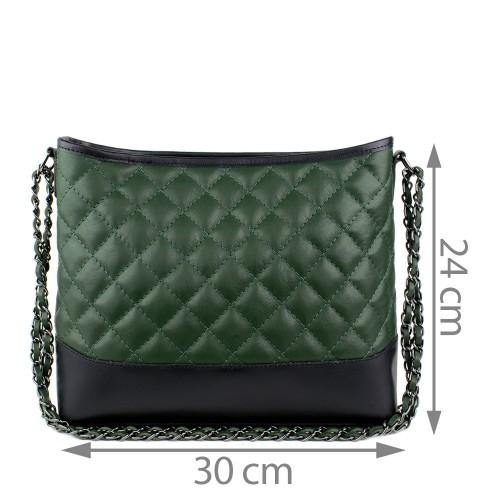Geanta piele verde inchis  matlasata GF872