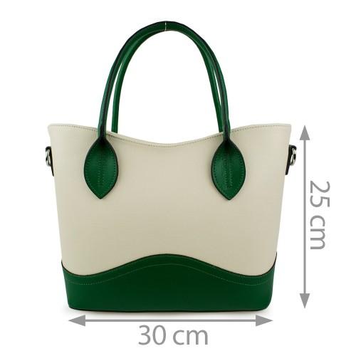 Geanta piele alb-unt cu verde GF877 Genti Dama