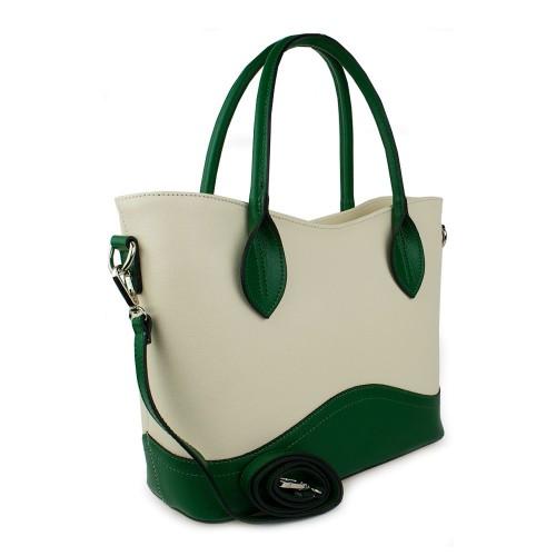 Geanta piele alb-unt cu verde GF877