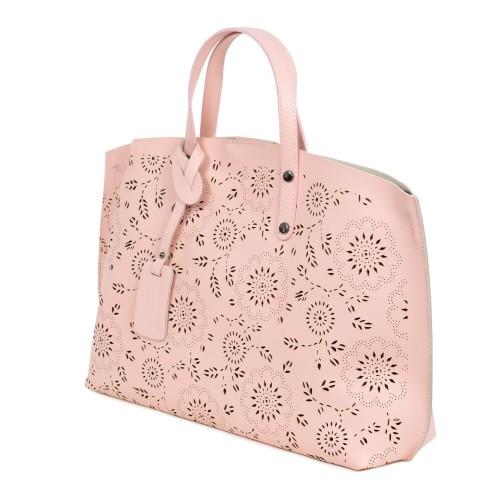 Geanta piele roz pal imprimeu perforat GF992