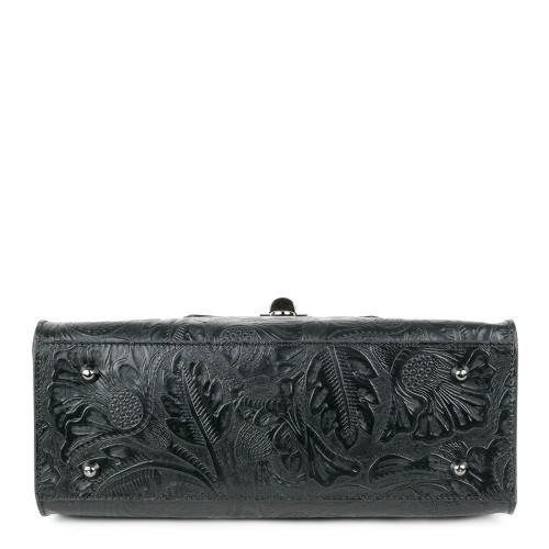 Geanta piele neagra imprimeu 3D GF1017