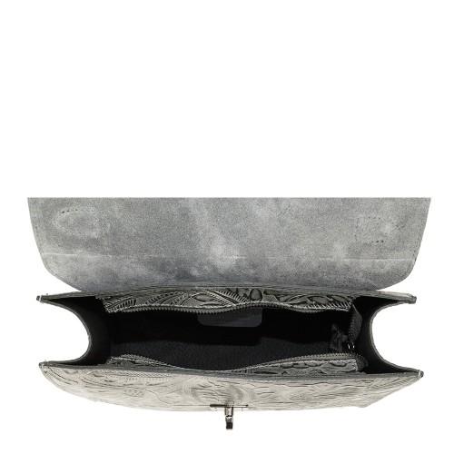 Geanta piele gri imprimeu 3D GF1018