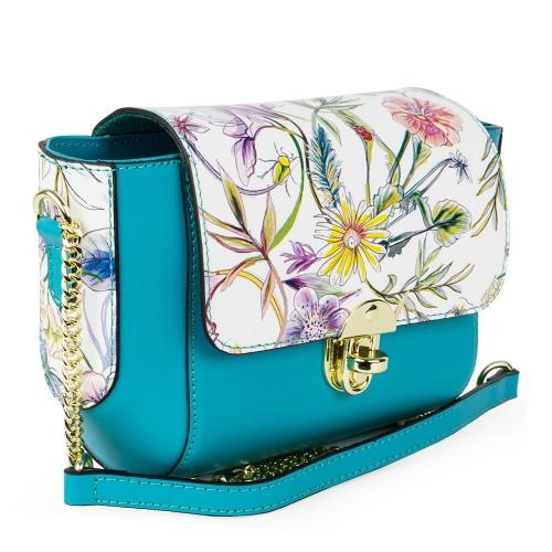 Gentuta piele turcoaz/imprimeu floral GF1032