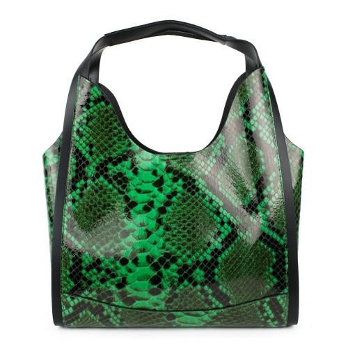 Geanta piele verde imprimeu sarpe GF1044