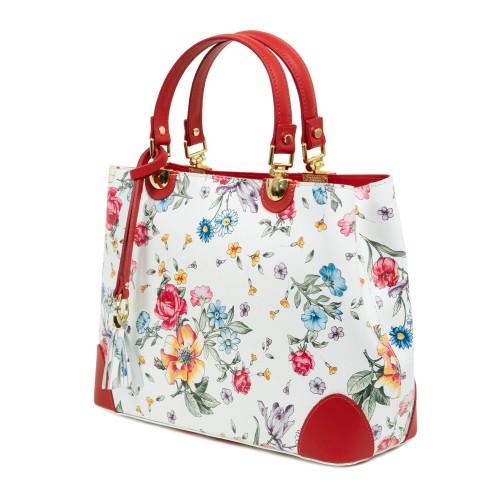 Geanta piele alb/rosu imprimeu floral GF1068
