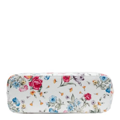 Geanta piele alba imprimeu floral GF1069