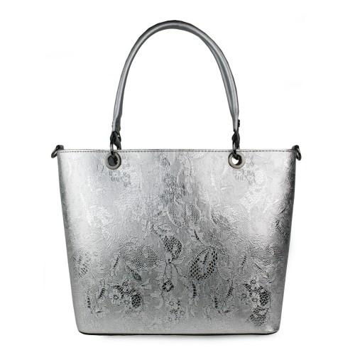 Geanta piele argintie imprimeu GF1072