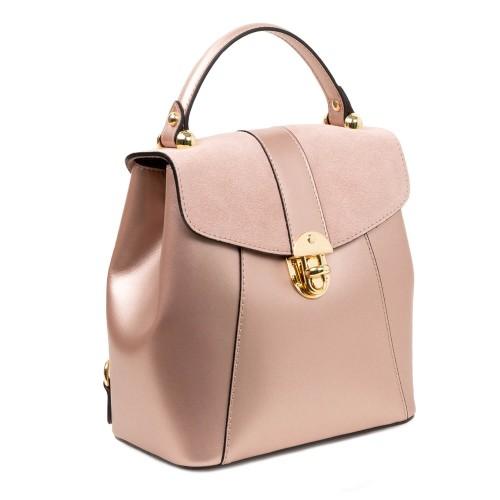 Rucsac piele roz sidefat GF1083