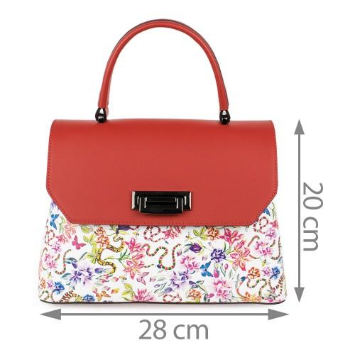 Geanta dama piele rosu/flori multicolor GF1090