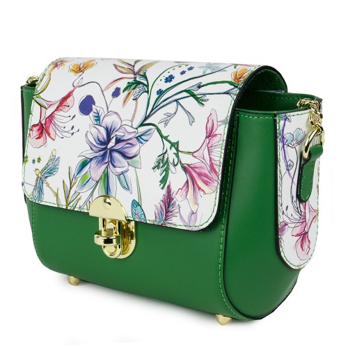 Gentuta piele verde/imprimeu floral GF1091