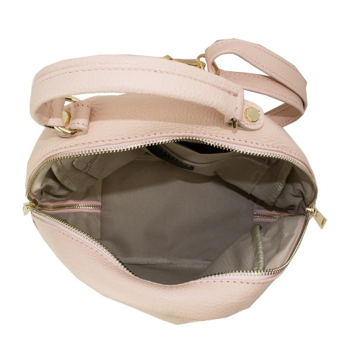 Rucsac din piele naturala roz pal GF1101