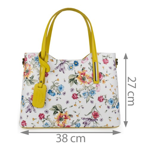 Geanta piele imprimeu floral alb/galben GF1110