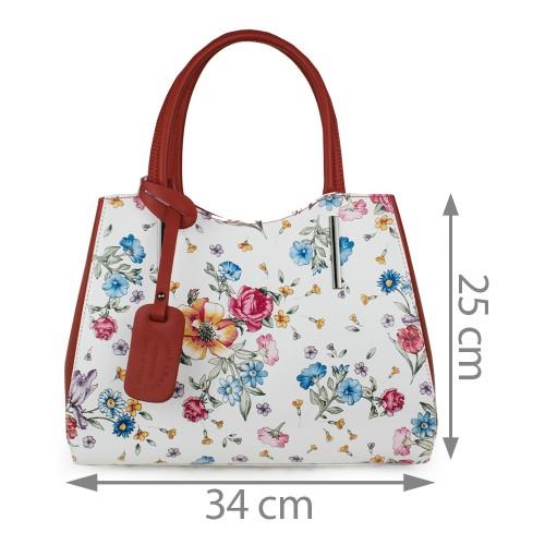 Geanta piele imprimeu floral alb/rosu GF1111