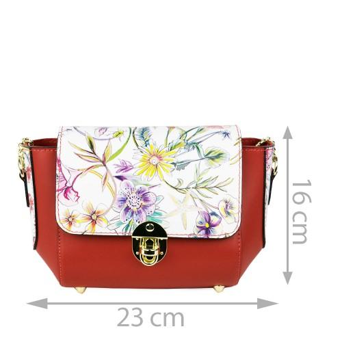 Gentuta piele rosu/imprimeu floral GF1112