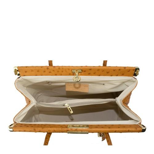 Geanta piele maro motive traditionale GF1113