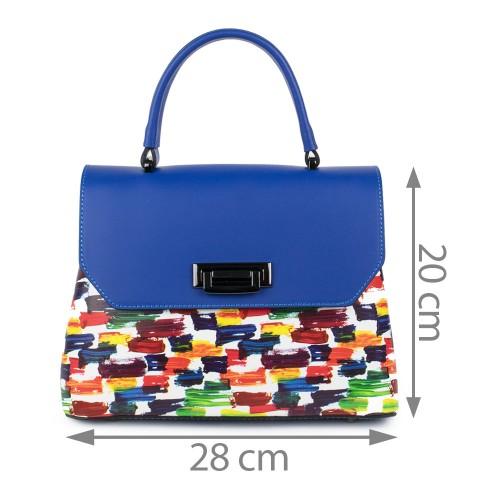 Gentuta piele albastru imprimeu multicolor GF1119
