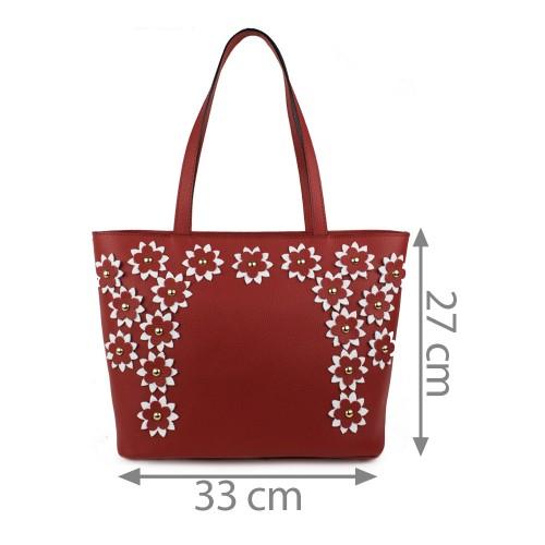 Geanta piele rosie cu aplicatii florale GF1123