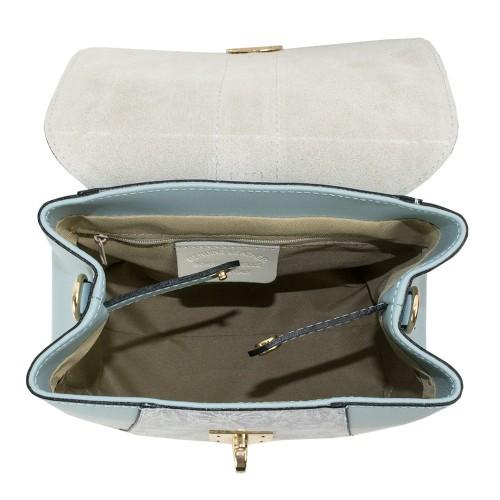 Rucsac piele bleu imprimeu argintiu GF1142