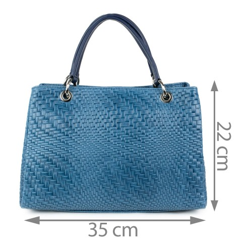 Geanta piele albastra impletita GF1150