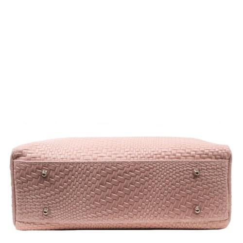 Geanta piele impletita roz prafuit GF1151
