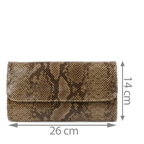 Plic piele taupe imprimeu sarpe GF1154