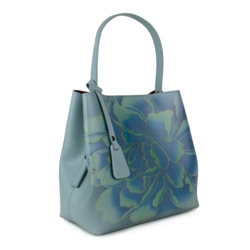 Geanta dama piele bleu imprimeu GF1165