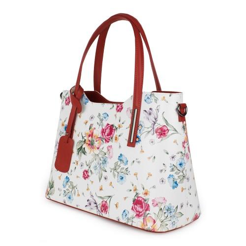Geanta piele imprimeu floral alb/rosu GF1169