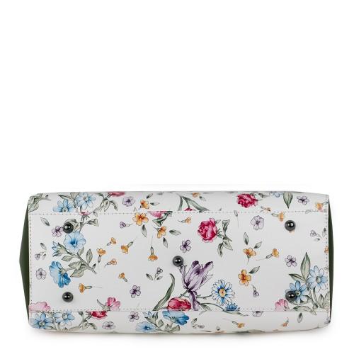 Geanta piele alb/kaki imprimeu floral GF1170