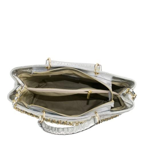 Geanta piele silver matlasata GF1191