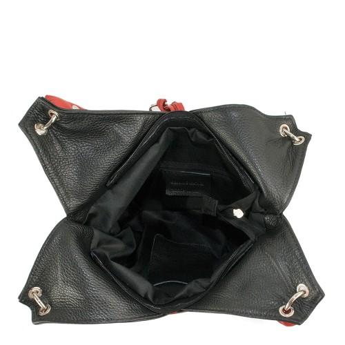 Geanta piele neagra cu ciucuri GF1197
