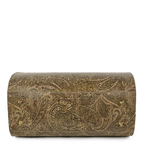 Geanta piele imprimeu paisley/maro GF1226
