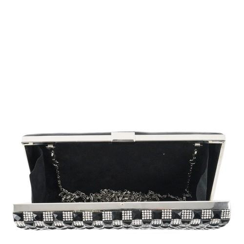 Plic negru cu strasuri argintii GF1246