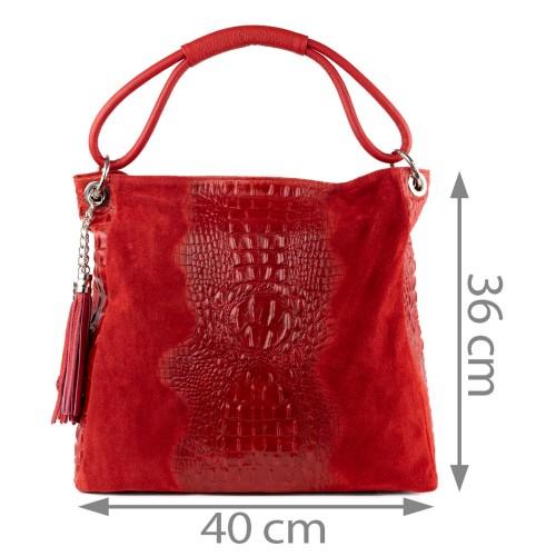 Geanta piele rosie cu imprimeu GF1280