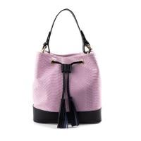 Geanta piele roz pal/imprimeu GF1303