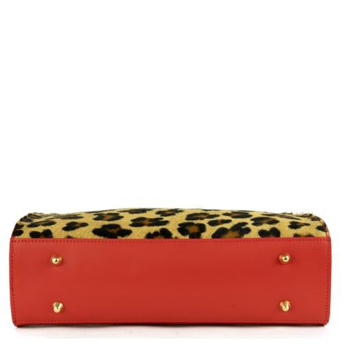 Geanta piele rosie imprimeu leopard GF1310