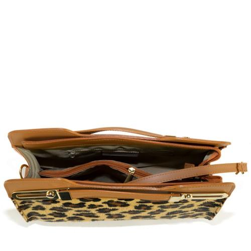 Geanta piele camel imprimeu leopard GF1311