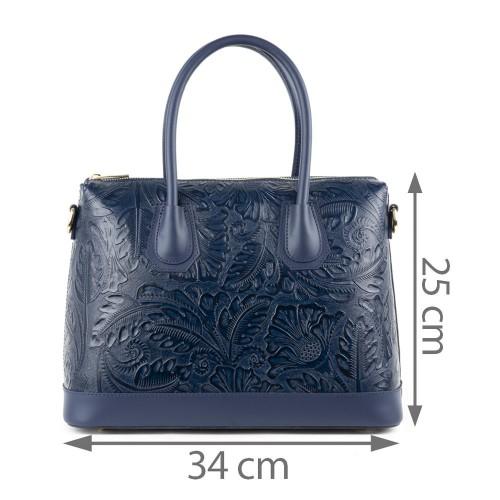 Geanta piele bleumarin imprimeu GF1316