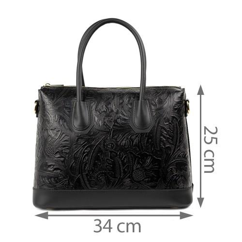 Geanta piele neagra cu imprimeu GF1317