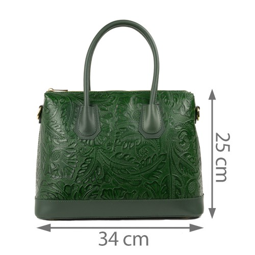 Geanta piele verde inchis imprimeu GF1318