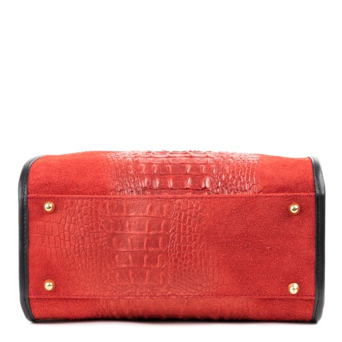 Geanta piele rosie imprimeu GF1327