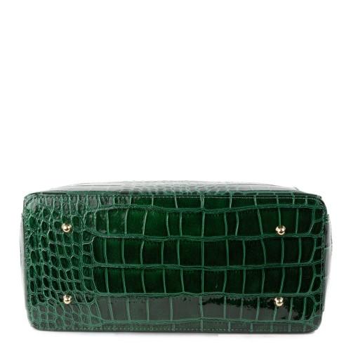 Geanta piele verde lacuita GF1333