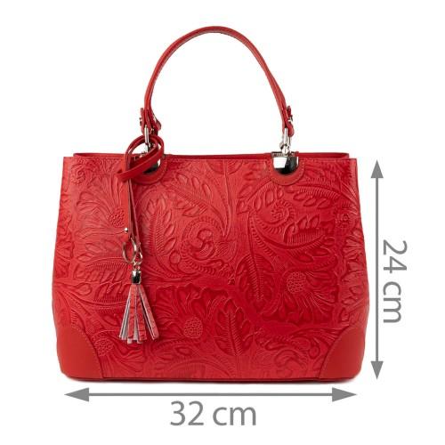 Geanta piele rosie cu imprimeu GF1340