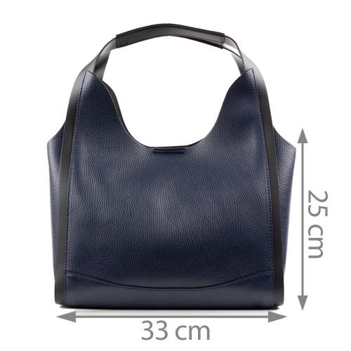 Geanta piele bleumarin cu negru GF1343