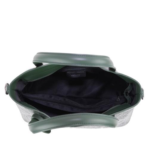 Geanta piele verde imprimeu GF1419