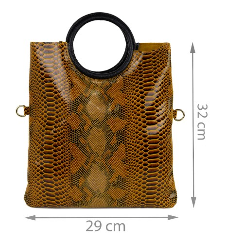 Gentuta tip plic piele maro sarpe GF1441