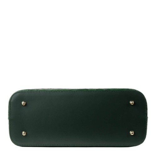 Geanta piele verde inchis imprimeu GF1442