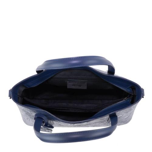 Geanta piele bleumarin imprimeu GF1448
