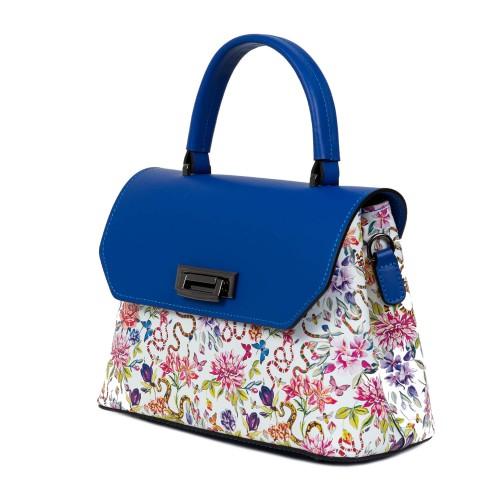 Gentuta dama piele albastru/flori multicolor GF1570