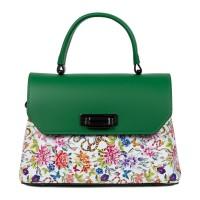 Geanta dama piele verde/flori multicolor GF1571