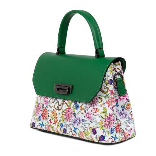 Genuta dama piele verde/flori multicolor GF1571